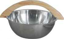 Nerezové vědro do sauny mělké s dřevěným uchem